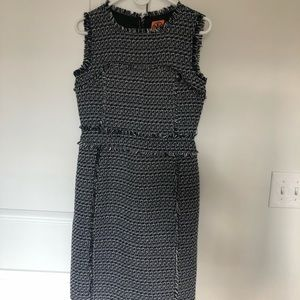 Tory Burch Black/Navy Mid-Length Work/Office Dress